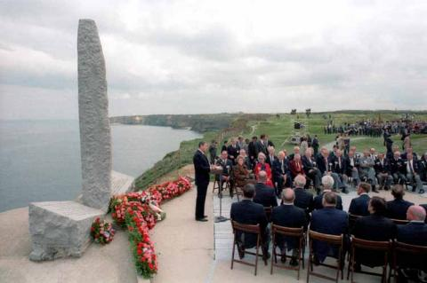 President Reagan Gives a speech at Pointe Du Hoc on the 40th Anniversary of D-Day in 1984
