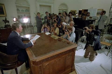 President Reagan Poses for photographs for his Speech to the Nation on Tax and Budget Legislation in 1982