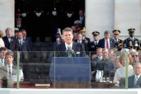 President Reagan giving his Inaugural Address in 1984
